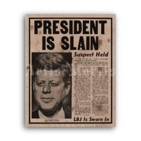 Printable President Is Slain - JFK assassination newspaper poster - vintage print poster