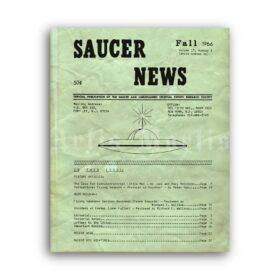 Printable Saucer News 1966 magazine cover - UFO, ufology poster - vintage print poster