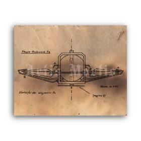 Printable German WW2 military flying saucer Thule Machine plan poster - vintage print poster