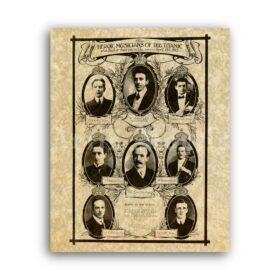 Printable Titanic musicians, music band, portraits vintage 1912 poster - vintage print poster