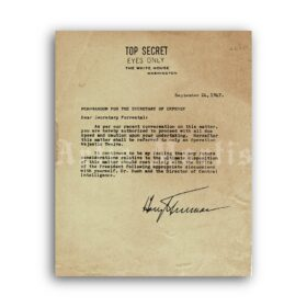 Printable Truman-Forestal Memo 1947 Top Secret UFO document poster - vintage print poster
