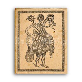 Printable Typhon ancient monster, Python, Hydra, Seth pagan beast - vintage print poster