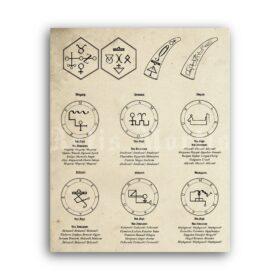 Printable Venus Magick of John Dee - practical magic diagram poster - vintage print poster