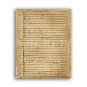 Printable Richard Wagner - The Flying Dutchman opera handwritten score - vintage print poster