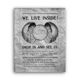 Printable We Live Inside - Hollow earth Cellular Cosmogony vintage poster - vintage print poster
