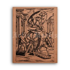 Printable Breaking Wheel ancient execution - medieval punishment poster - vintage print poster