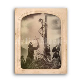 Printable Inquisition, Witch crucifixion - art photo by William Mortensen - vintage print poster