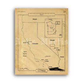 Printable Area 51 Map - secret CIA document, military, ufology poster - vintage print poster