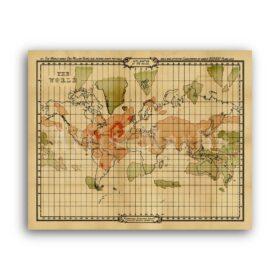 Printable Atlantis mythical island map - Ancient world geography poster - vintage print poster