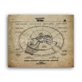 Printable Avro Project diagram - secret military flying saucer poster - vintage print poster