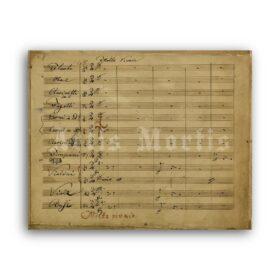 Printable Ludwig van Beethoven Symphony No. 9 original handwritten score - vintage print poster