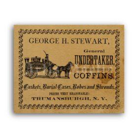 Printable Undertaker, Coffins - Burial advertisement, vintage gothic print - vintage print poster