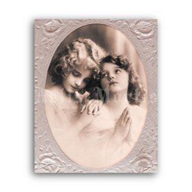 Printable Dreamy praying little girls, Grete Reinwald, Edwardian photo - vintage print poster
