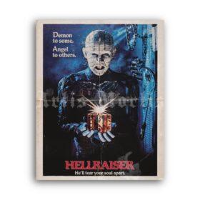 Printable Hellraiser - 1987 horror movie poster, Pinhead demon print - vintage print poster