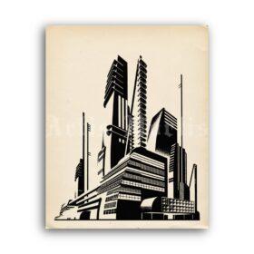 Printable Iakov Chernikhov architectural drawing, soviet constructivism - vintage print poster