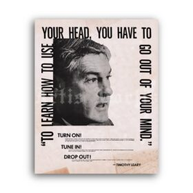Printable Timothy Leary vintage 1960s poster - Turn On, Tune In, Drop Out - vintage print poster