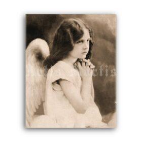 Printable Little praying angel, Victorian girl, gothic child photo - vintage print poster