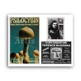 Printable Terence McKenna, Psilocybin book vintage memorabilia poster - vintage print poster