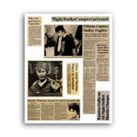 Printable Night Stalker Richard Ramirez Newspaper clippings poster - vintage print poster