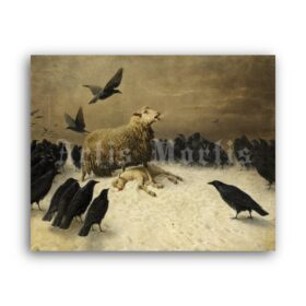 Printable Anguish - painting, dark art by August Friedrich Albrecht Schenck - vintage print poster