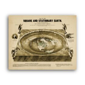 Printable Square Stationary Flat Earth - vintage 1893 map poster - vintage print poster
