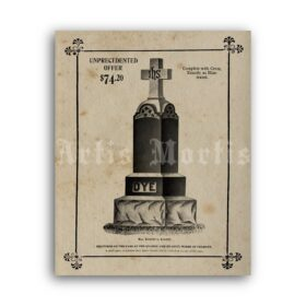 Printable Tombstone - Burial advert, death, cemetery funeral poster - vintage print poster