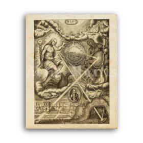 Printable Ars Magna Lucis et Umbrae medieval engraving - alchemy art - vintage print poster