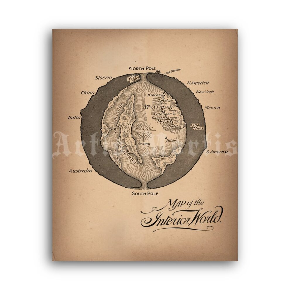 Printable Map of the Interior World, Atvatabar city, Hollow Earth poster - vintage print poster