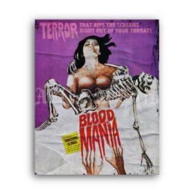 Printable Blood Mania - vintage 1970 horror grindhouse b-movie poster - vintage print poster