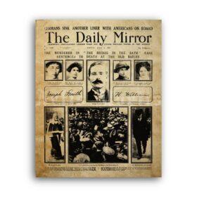 Printable Brides In The Bath - newspaper, true crime, serial killer print - vintage print poster