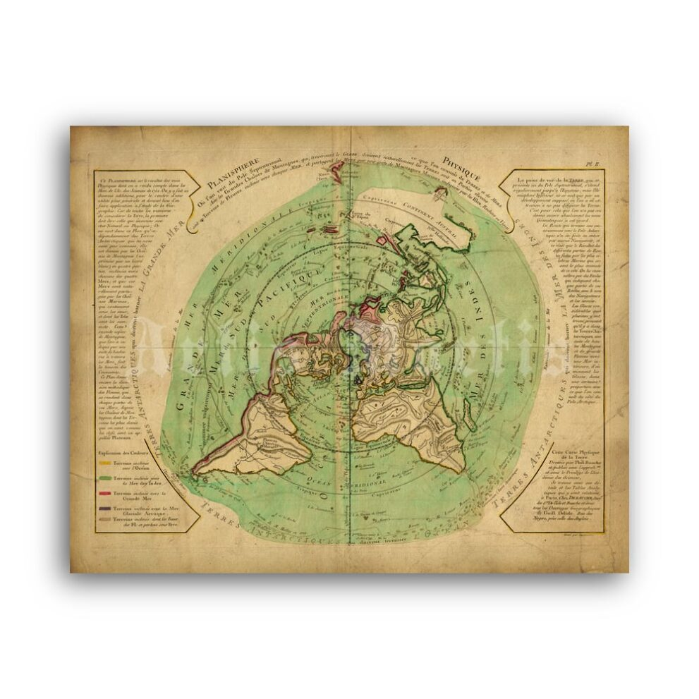 Printable Flat Earth Buache map - Controversial polar projection map - vintage print poster