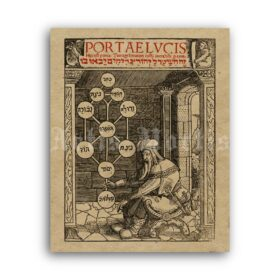 Printable Kabbalistic Tree of Life, Sephiroth, medieval alchemy art - vintage print poster