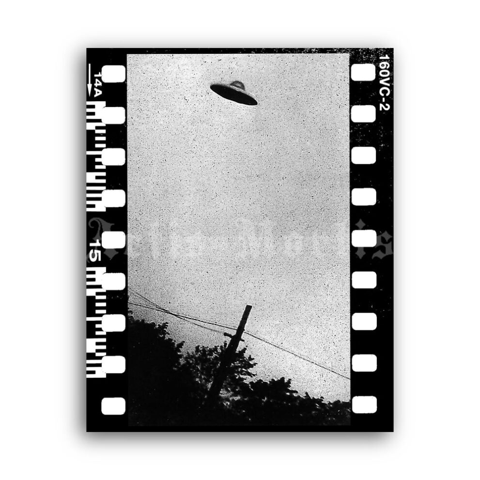 Printable Real Flying Saucer photo, UFO, CIA archive print, poster - vintage print poster