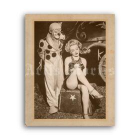 Printable Clown and beautiful circus girl vintage photo poster - vintage print poster