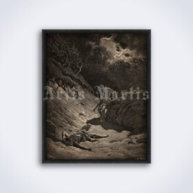 Printable Cain murdered Abel - The Bible illustration by Gustave Dore - vintage print poster