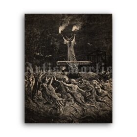 Printable Dance of Sabbat - witches sabbath illustration by Gustave Dore - vintage print poster