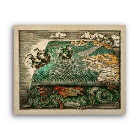Printable Flat Earth on Dragon - medieval cosmogony, ancient mythology - vintage print poster