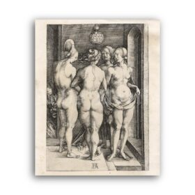 Printable The Four Witches - Albrecht Durer medieval engraving art - vintage print poster