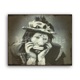Printable Sad Clown Emmett Kelly Jr - vintage circus clown photo - vintage print poster