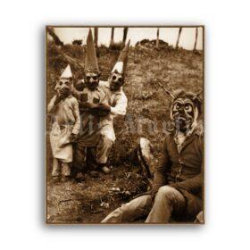 Printable Man in Devil mask and gnomes - vintage Halloween photo - vintage print poster