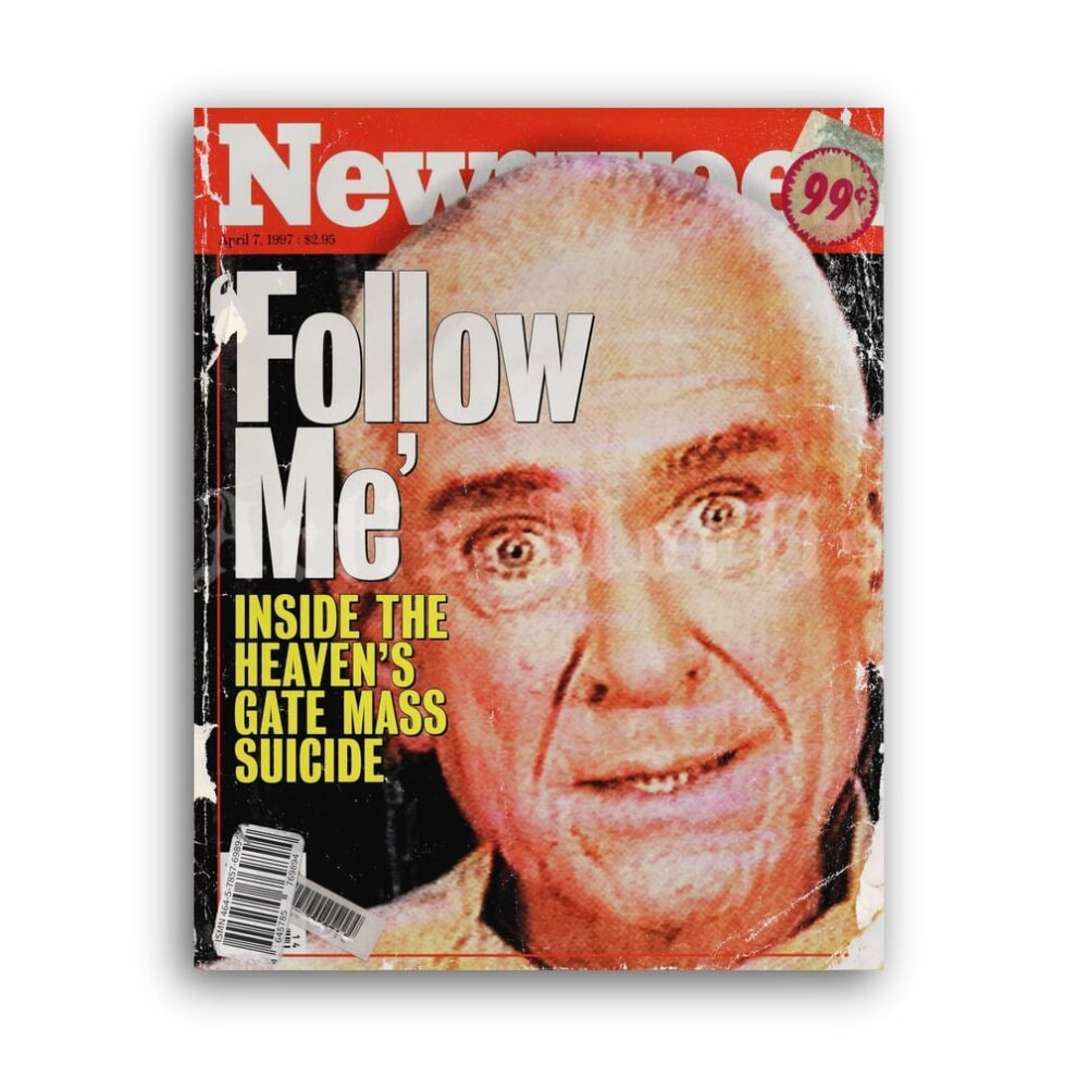 Printable Heaven's Gate cult leader Marshall Applewhite magazine cover - vintage print poster