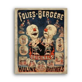 Printable Huline Brothers poster, weird clowns, vintage circus, freak show - vintage print poster