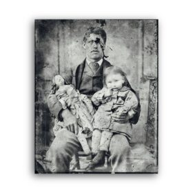 Printable A Man with a child and a doll - creepy, weird vintage photo - vintage print poster