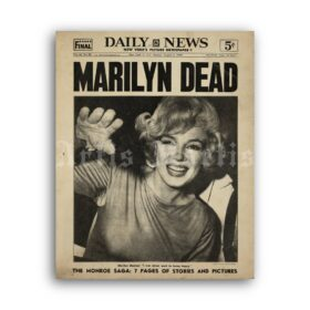 Printable Marilyn Dead - newspaper cover, Marilyn Monroe death poster - vintage print poster