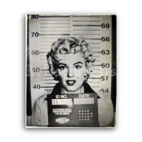 Printable Marilyn Monroe arrest mugshot, vintage photo poster - vintage print poster