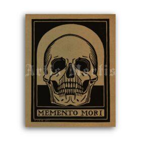 Printable Human Skull, Memento Mori linocut art by Julie de Graag - vintage print poster
