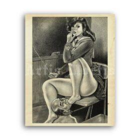 Printable Foot fetish lesson - Japanese femdom art by Namio Harukawa - vintage print poster
