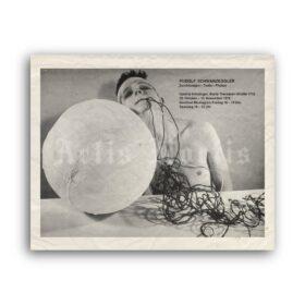 Printable Rudolf Schwarzkogler, Viennese Actionism art exhibition poster - vintage print poster