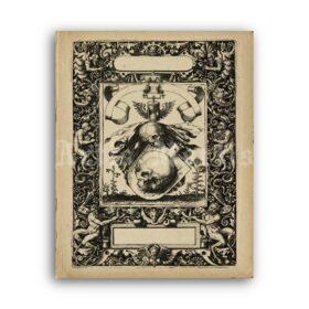 Printable Baroque skulls ornate medieval dark art, memento mori print - vintage print poster