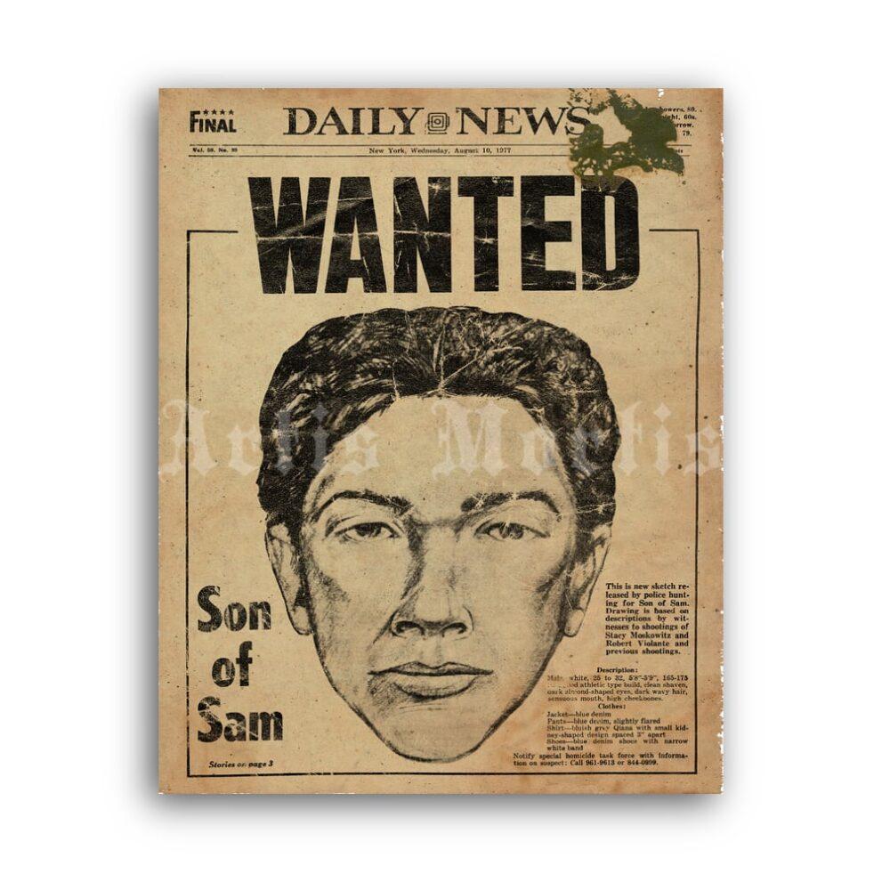 Printable Son of Sam David Berkowitz - serial killer wanted poster - vintage print poster